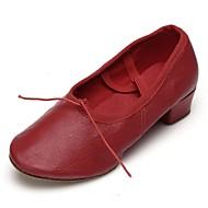 billige Ballettsko-Dame Ballettsko Fuskelær Flate Tvinning Flat hæl Kan spesialtilpasses Dansesko Rød