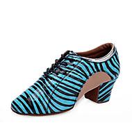 billige Kustomiserte dansesko-Dame Moderne sko Nappa Lær Høye hæler Tykk hæl Kan spesialtilpasses Dansesko Hvit / Blå / Rosa