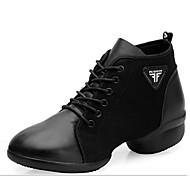 billige Moderne sko-Dame Moderne sko Nappa Lær Joggesko Kubansk hæl Dansesko Svart