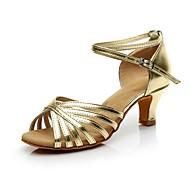 สำหรับผู้หญิง ลาติน PU ส้น ส้นCuban ตัดเฉพาะได้ รองเท้าเต้นรำ สีทอง / เงิน