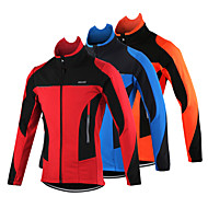 cheap Sports & Outdoor Super Clearance-Arsuxeo Men's Cycling Jacket Bike Jacket Top Thermal / Warm Windproof Breathable Sports Patchwork Classic Polyester Spandex Fleece Winter Orange / Red / Blue Mountain Bike MTB Road Bike Cycling