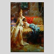 billiga Människomålningar-Hang målad oljemålning HANDMÅLAD - Människor Vintage / Moderna Duk