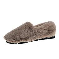 Χαμηλού Κόστους Γυναικεία Παπούτσια-Γυναικεία Μοκασίνι Φο Γούνα Φθινόπωρο & Χειμώνας Μινιμαλισμός Μοκασίνια & Ευκολόφορετα Περπάτημα Επίπεδο Τακούνι Στρογγυλή Μύτη Λευκό / Μαύρο / Καφέ