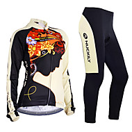cheap -Nuckily Women's Long Sleeve Cycling Jersey with Tights - Black Bike Jersey Clothing Suit Windproof Breathable Anatomic Design Reflective Strips Back Pocket Sports Polyester Lycra Floral / Botanical