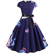 Women's Daily Going out Vintage Elegant Slim Swing Dress - Floral Spring Cotton Blue L XL XXL