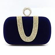 baratos Clutches & Bolsas de Noite-Mulheres Bolsas Camurça Bolsa de Festa Detalhes em Cristal Vinho / Khaki / Azul Real