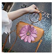 baratos Bolsas de Ombro-Mulheres Bolsas PU Bolsa de Ombro Apliques Floral Rosa / Verde Escuro / Marron