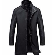 남성용 일상 베이직 겨울 / 가을 겨울 보통 가죽 자켓, 솔리드 스탠드 긴 소매 폴리우레탄 푸른 / 블랙 XL / XXL / XXXL