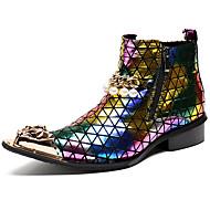 tanie Obuwie męskie-Męskie Fashion Boots Skóra nappa Zima W stylu brytyjskim Botki Zatrzymujący ciepło Kozaczki / kozaki do kostki Kolorowy blok Złoty / Impreza / bankiet
