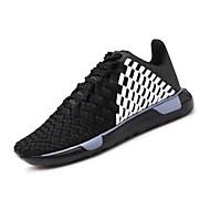baratos Sapatos Masculinos-Homens Sapatos Confortáveis Tecido elástico Outono Esportivo / Casual Tênis Corrida Não escorregar Branco / Preto / Preto / Vermelho
