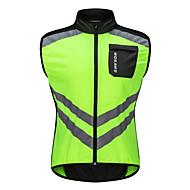 WOSAWE Herre Uden ærmer Cykelvest - Grøn Helfarve Cykel Vest Vind Jakker Trøje, Vindtæt Åndbarhed Refleksbånd, Sommer, Polyster / Elastisk