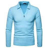 Hombre Polo, Cuello Camisero Un Color Azul Marino L / Manga Larga