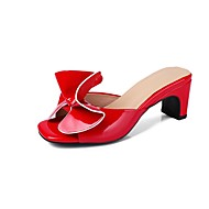 cheap -Women's Novelty Shoes Patent Leather Summer Minimalism Sandals Customized Heel Open Toe White / Black / Red / Party & Evening