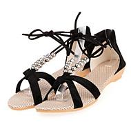 Women's Comfort Shoes PU(Polyurethane) Spring Sandals Flat Heel Black