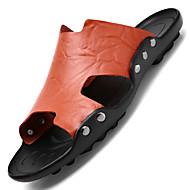 tanie Obuwie męskie-Męskie Komfortowe buty Skóra bydlęca Lato Casual Sandały Oddychający Biały / Czarny / Brązowy