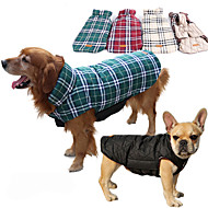 cheap Pet Supplies-Dog Coat Vest Dog Clothes Plaid/Check Beige Brown Red Green Cotton Costume For Pets Men's Women's Reversible Keep Warm