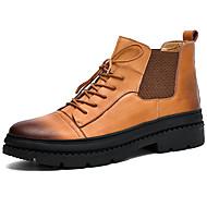 billige Herresko-Herre Fashion Boots Læder Vinter Vintage / Afslappet Støvler Hold Varm Støvletter Sort / Brun