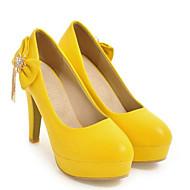 Women's Comfort Shoes PU(Polyurethane) Spring Heels Stiletto Heel White / Yellow / Pink / Daily