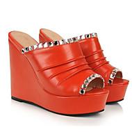 olcso -Női Kényelmes cipők PU Tavasz Szandálok Ék sarkú Fehér / Fekete / Narancssárga