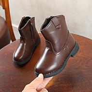 baratos Sapatos de Menina-Para Meninas Sapatos Couro Sintético / Couro Ecológico Primavera Verão Conforto / Botas da Moda Botas Caminhada Ziper / Combinação para Infantil Preto / Marron / Botas Curtas / Ankle