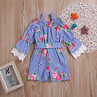 Baby Jente Aktiv / Søt Fest / Ut på byen Blomstret Sløyfe / Trykt mønster 3/4 ermer Ovenfor knéet Polyester Kjole Blå