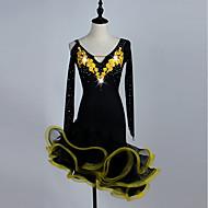 cheap Dancewear & Dance Shoes-Latin Dance Dresses Women's Training Spandex / Tulle Appliques / Crystals / Rhinestones Long Sleeve High Dress