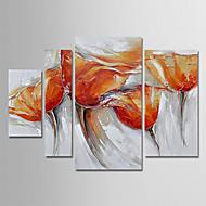 billiga Blom-/växtmålningar-Hang målad oljemålning HANDMÅLAD - Blommig / Botanisk Moderna Inkludera innerram / Fyra paneler / Sträckt kanfas