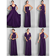 cheap Under $90 Bridesmaid Dresses-A-Line Floor Length Jersey Bridesmaid Dress with Criss Cross / Pleats by LAN TING BRIDE® / Convertible Dress