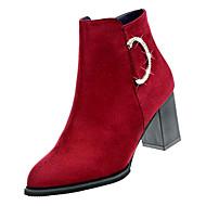 Kadın's Ayakkabı PU Sonbahar Minimalizm Çizmeler Kalın Topuk Yarı-Diz Boyu Çizmeler Günlük için Siyah / Şarap