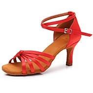 billige Sko til latindans-Dame / Jente Sko til latindans Sateng Sandaler / Høye hæler Spenne Kubansk hæl Kan spesialtilpasses Dansesko Rød