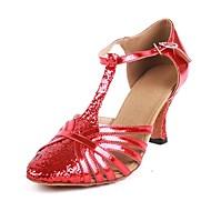 billige Moderne sko-Dame Moderne sko PU Sandaler / Høye hæler Spenne / Glimmer Utsvingende hæl Kan spesialtilpasses Dansesko Rød
