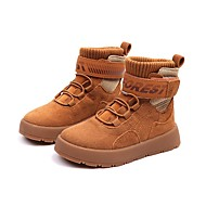 baratos Sapatos de Menina-Para Meninos / Para Meninas Sapatos Pele Outono & inverno Conforto / Coturnos Botas Cadarço para Infantil / Adolescente Preto / Amarelo / Botas Curtas / Ankle
