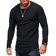 Χαμηλού Κόστους -Ανδρικά T-shirt Βασικό Μονόχρωμο Στρογγυλή Λαιμόκοψη / Μακρυμάνικο