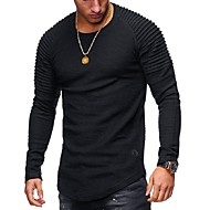 baratos -Homens Camiseta Sólido Decote Redondo / Manga Longa