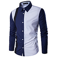 Men's Work Business / Basic Cotton Shirt - Color Block Patchwork Classic Collar White XL / Long Sleeve