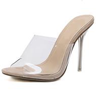 baratos Sapatos Femininos-Mulheres Sapatos transparentes PVC Verão Casual Sandálias Salto Agulha Dedo Aberto Amêndoa