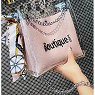 baratos Bolsas de Ombro-Mulheres Bolsas PVC Bolsa de Ombro Estampa Letra Preto / Rosa / Marron