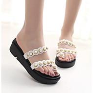 tanie Obuwie damskie-Damskie Komfortowe buty Syntetyki Lato Sandały Creepersy Biały / Czarny