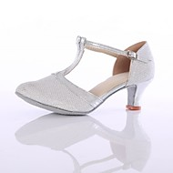Dame Moderne dansesko Syntetisk læder / Net Hæle Slidse Cubanske hæle Kan tilpasses Dansesko Sølv