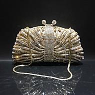 baratos Clutches & Bolsas de Noite-Mulheres Bolsas Liga Bolsa de Festa Detalhes em Cristal / Vazados Côr Sólida Dourado