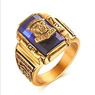 Pánské Zlatá Syntetický akvamarín Klasika Midi Ring Titanová ocel Vintage Fashion Ring Šperky Tmavomodrá / Červená / Zelená Pro Párty Denní 7 / 8 / 9 / 10 / 11