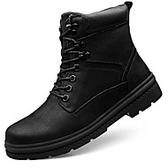 cheap Men's Boots-Men's Snow Boots Cowhide Winter Sporty / Casual Boots Keep Warm Mid-Calf Boots Black