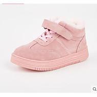 tanie Obuwie dziewczęce-Dla dziewczynek Obuwie Świńska skóra Zima Wygoda Adidasy Tasiemka na Dzieci Czarny / Różowy