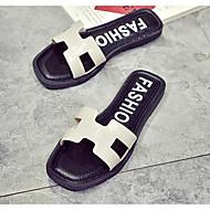 baratos Sapatos Femininos-Mulheres Sapatos Confortáveis PVC Verão Chinelos e flip-flops Sem Salto Branco / Preto