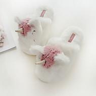 baratos Chinelos-Chinelos de unicórnio das mulheres casa chinelos algodão casual / tecido animal print