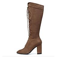 baratos Sapatos Femininos-Mulheres Fashion Boots Camurça / Pele de Carneiro Inverno Botas Salto Robusto Dedo Fechado Botas Curtas / Ankle Castanho Escuro