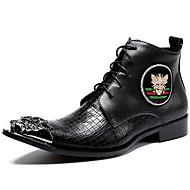 baratos Sapatos Masculinos-Homens Sapatos de couro Pele Napa Inverno Formais Botas Manter Quente Botas Cano Médio Preto / Festas & Noite