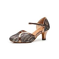 billige Kustomiserte dansesko-Dame Moderne sko Mikrofiber Sandaler Dyremønster Kubansk hæl Kan spesialtilpasses Dansesko kaffe / Mørkegrå