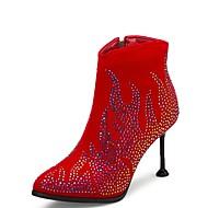 billige Sko i Store Størrelser-Dame Fashion Boots Semsket lær Høst vinter Vintage Støvler Stiletthæl Spisstå Ankelstøvler Gummi Svart / Mørkerød / Bryllup / Fest / aften