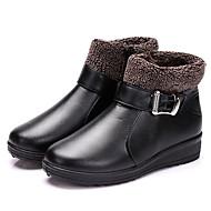 baratos Sapatos Femininos-Mulheres Fashion Boots Couro Ecológico Outono Casual Botas Salto Plataforma Ponta Redonda Botas Cano Médio Preto / Castanho Escuro / Vinho